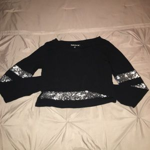 Black and Gold Crop Top